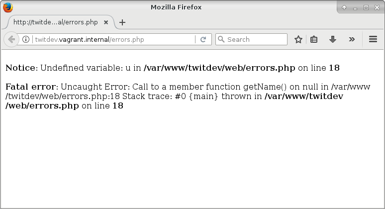 php error post: error in browser