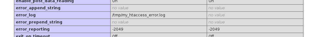 php error post: phpinfo output